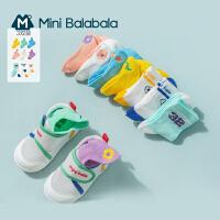迷你巴拉巴拉儿童袜子夏季新款薄款男童女童宝宝精梳棉短袜3双装