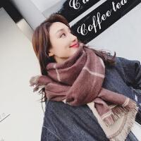 韩版格子围巾女秋冬季双面长款学生围脖加厚英伦披肩两用百搭冬天