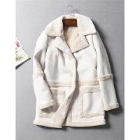 法国单皮草风羊羔绒加厚大翻领仿皮毛一体大衣长外套秋冬女装0.86