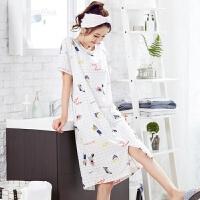 韩版睡衣女夏季睡裙夏天清新纯棉甜美可爱全棉薄款家居服学生套装 A99306 M