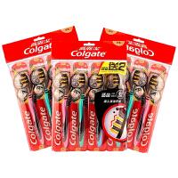 高露洁(Colgate)适齿炭多效牙刷 偏硬软毛12支 家庭1年装
