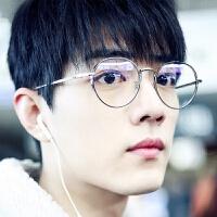 201808230421102232018 秋冬韩国风个性复古金属百搭文艺平光眼镜圆脸框架眼镜架男女可配近视潮流