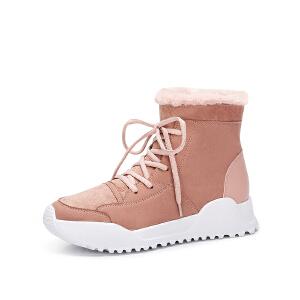 骆驼女鞋 2018冬季新款 学院风平跟舒适保暖休闲运动短靴短筒女靴