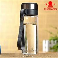 富光双层玻璃杯带滤网泡茶水杯 耐热杯子 透明带盖 .