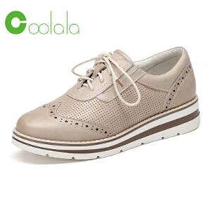 红蜻蜓coolala 2017年春季新款女士休闲鞋 真皮皮鞋布洛克平底鞋