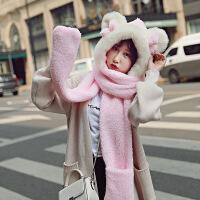 围巾女冬季时尚韩版女学生秋冬亲子围脖百搭加厚脖套女士帽子一体儿童