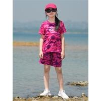 儿童户外男女童速干短裤透气快干速干t恤夏季儿童裤速干衣裤套装