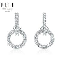 ELLE耳环满意 925银饰品锆石红宝石双圈耳坠 来自法国送女友 7002100