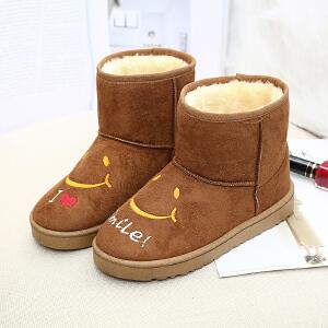 2017新款雪地靴女短靴秋冬季女鞋短筒学生跑步雪地棉鞋平底保暖加绒运动女靴子