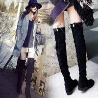长筒靴女过膝5050显瘦女靴力2018新款平底高筒秋冬瘦瘦单靴薄