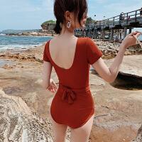 时尚连体遮肚显瘦泳衣女性感韩国ins风温泉泳装女士保守死库水游泳衣