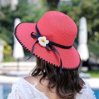 女士出游可折叠防晒帽子 海边青年大檐草帽檐 新款太阳帽女沙滩遮阳帽