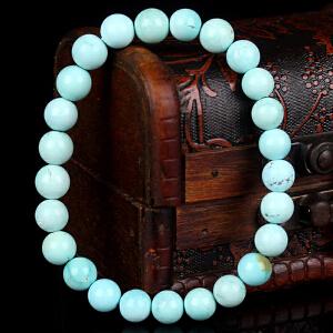 原矿高瓷高蓝绿松石圆珠手串  直径8.5mm