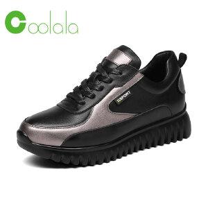 红蜻蜓coolala 春季新款真皮牛皮运动鞋女士休闲鞋舒适平底单鞋
