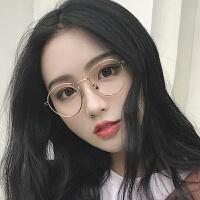 2018新款眼镜框女韩版潮复古素颜近视架金属时尚珍珠腿平光镜圆框网红眼镜