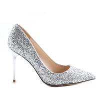 尖头高跟鞋女2018新款银色细跟春秋亮片水晶宴会鞋结婚新娘鞋婚鞋