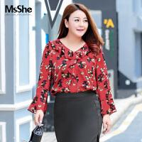 MsShe加大码女装2018新款春装优雅OL荷叶边V领印花雪纺衫M1813086