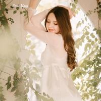 梦中的婚礼法式宫廷新婚优雅百搭秋冬长睡袍 白色 管阿姨自留款 160(M)