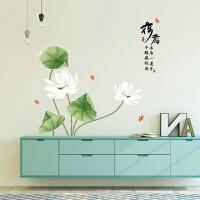中国风荷花客厅电视背景墙贴纸卧室房间书房装饰自粘贴画J 荷花 特大