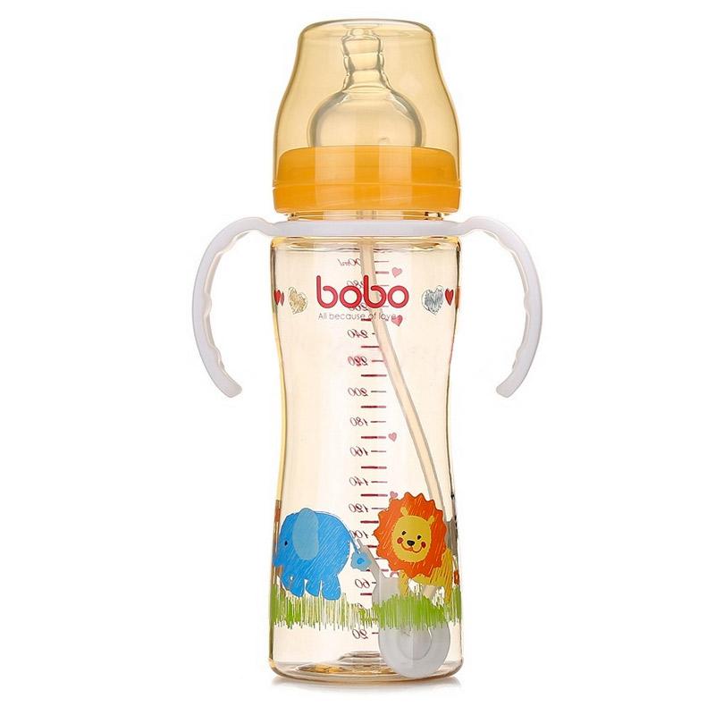 【当当自营】乐儿宝(bobo) PPSU自动宽口奶瓶300ml 变流量 配手柄吸管 橙色BP628B-O新老包装替换中