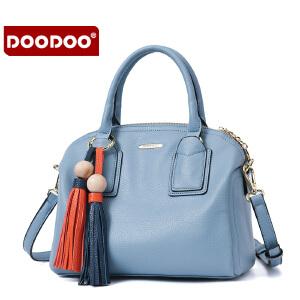 【支持礼品卡】DOODOO 女士包包新款2017女包手提单肩包女款大包包简约时尚斜挎流苏包 D6099
