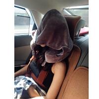 超大连帽记忆棉U型枕便携护颈枕带帽子脖子u形枕飞机旅行颈椎枕头