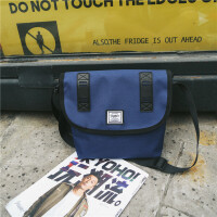男士斜挎包包女帆布单肩出差旅游小包 时尚差包 藏青色 收藏送运费险