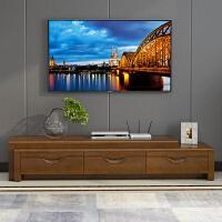 实木电视柜子简约客厅三抽储物新中式现代胡桃木色多功能长桌家具 组装