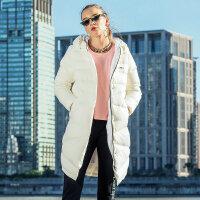 特步长款羽绒服女子冬季新款正品连帽加厚保暖外套女装882428199405