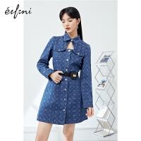 伊芙丽牛仔连衣裙2021年新款早春新款女装韩版显瘦激光印花裙子女