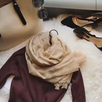 围巾女冬季韩版丝巾烫金鹿角毛边薄纱巾装饰保暖学生围脖披肩两用
