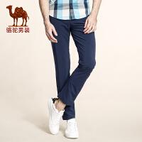 骆驼男装 夏季新款高弹柔软修身小脚休闲裤薄款纯色中腰长裤男