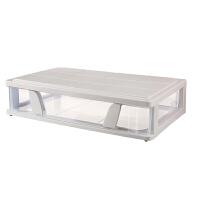 扁平床底收纳箱塑料抽屉式床下整理箱衣柜衣物棉被储物箱子带滑轮 卡其色 大号63*39*15.5CM