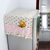 冰箱罩防尘罩对开门双单开门欧式蕾丝盖巾冰箱盖布遮尘冰箱盖布棉麻蕾丝收纳袋防尘罩 50*120cm