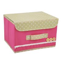 优芬小号扣扣收纳箱日式收纳盒无纺布储物箱 粉色