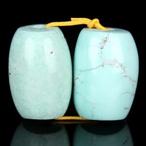 原矿高瓷绿松石桶珠对珠 直径10mm