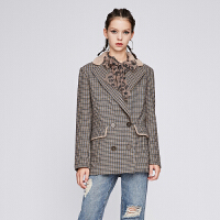 dzzit地素 18冬装新款复古格纹毛领绵羊毛中长款大衣女3F4G2143W