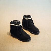 女童靴子2017秋童鞋女孩流苏公主鞋韩版短靴保暖加绒雪地靴棉鞋