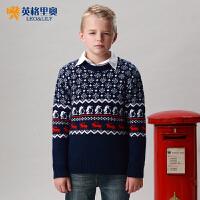 秋冬青少年中大童英格里奥男童毛衣圆领圣诞款套头衫儿童服装童装1255
