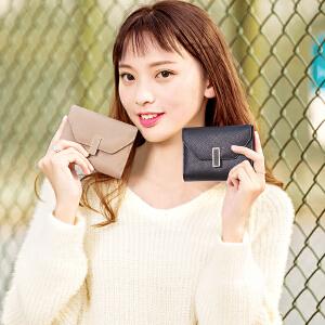 2017新款简约百搭短款钱包女折叠小清新多功能三折多卡位零钱夹子