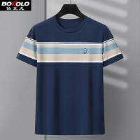 莫代尔棉短袖T恤男士圆领薄款伯克龙含桑蚕丝冰丝休闲体恤衫格子半袖男装上衣潮 BB2533