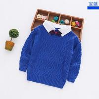 男女儿童手工针织衬衣领毛衣中小童装宝宝红色毛衣潮秋款羊毛衫