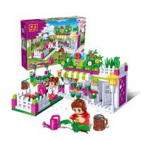 【小颗粒】邦宝益智媚力都市拼插积木女孩玩具礼物小屋鲜花店6116