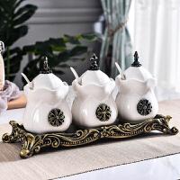 欧式厨房用品调味罐家用油盐罐佐料调料盒调味瓶套装陶瓷三件套