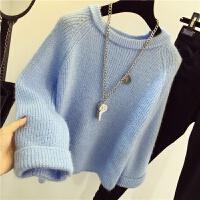 秋冬新款圆领毛衣女套头学生针织衫宽松纯色打底衫韩版加厚女外套