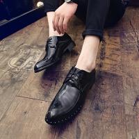 DAZED CONFUSED 潮牌2017夏季发型师尖头男皮鞋英伦系带夜店漆皮亮面男鞋百搭