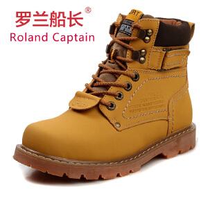 罗兰船长 马丁靴男靴子加绒保暖棉鞋单鞋军靴工装靴