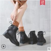 粗跟短靴女冬季新款韩版百搭学生英伦瘦瘦靴加绒冬靴子马丁靴