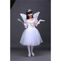 六一儿童演出服小天鹅舞蹈裙女童芭蕾舞白纱裙白天使泡泡袖蓬蓬裙