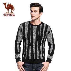 骆驼&熊猫联名系列男装 时尚青年套头欧美简约几何图案圆领毛衣男